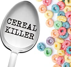 Weenca Engraved Spoon Cereal Killer Best Gift Suggestions for Teenage Boys 100% Laser Engraved Sturdy Stainless Steel Cereal Spoon, Funny Gifts for Cereal Lovers