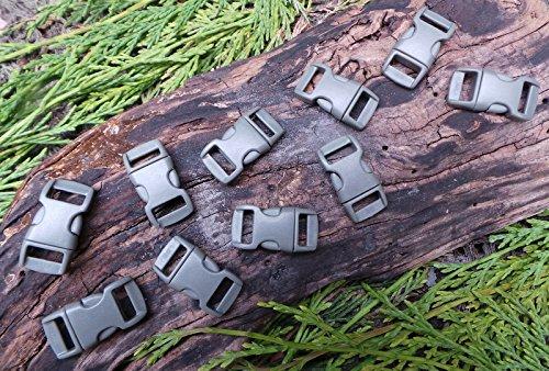 MD FlashLights Etc Ltd 10 x 10 mm 3/8 Gris profilée Quick Release Paracord Bracelet de Survie Boucles