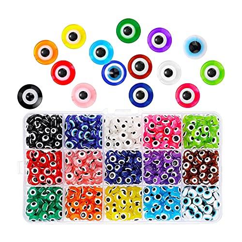 oshhni 450 Piezas de Cuentas de Mal de Ojo DIY Manualidades de amuletos de Mal de Ojo con Caja de Almacenamiento para joyería DIY Pulsera Collar de