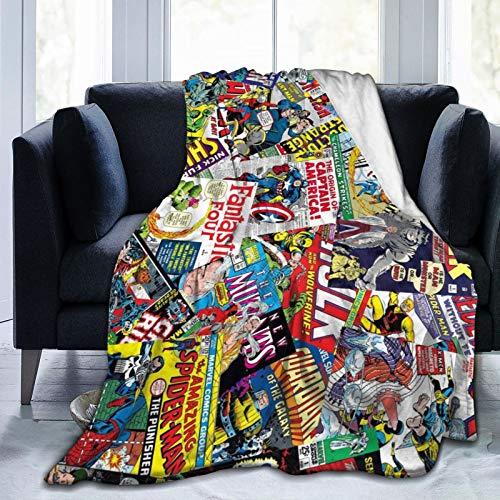 "VELS&VKAE Vintage Comic Book Heroes Ultra Soft Flannel Fleece Warm Throw Blanket for Sofa Living Room Bedroom 80""x60"""