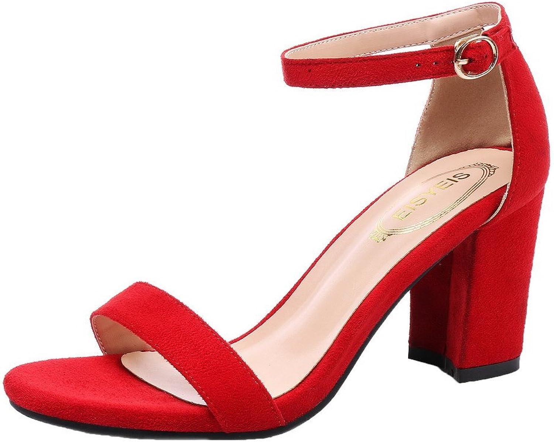 WeiPoot Women's Xi Shi Velvet Buckle Open-Toe High-Heels Solid Sandals