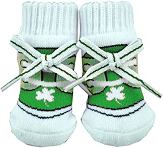 Baby Green/White Newborn Shamrock Booties