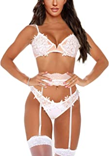 Maketina Women Lingerie Set with Garter Belts Sexy Bra and Panty Set 3 Piece Lace Garter Set