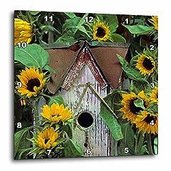 3D Rose USA - Pennsylvania. Birdhouse and Garden Sunflowers Wall Clock, 10 x 10