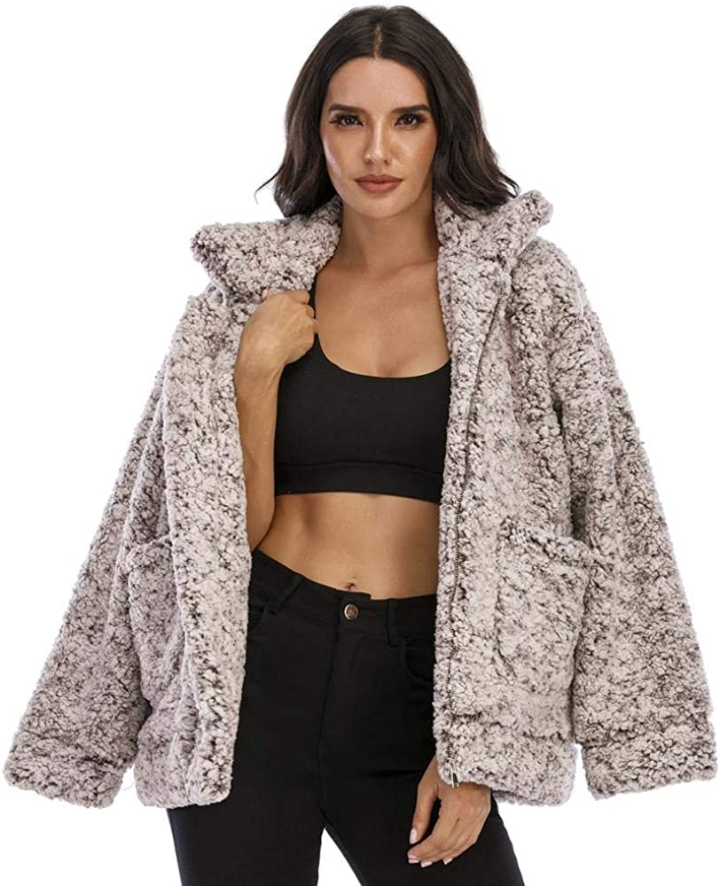Women's Fashion Long Our shop most popular Sleeve Lapel Zip Faux O Shaggy Shearling Up Gorgeous