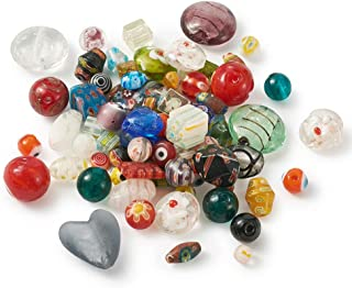 Craftdady 100g Random Mixed Styles Handmade Millefiori/Gold Sand Lampwork Glass Spacer Beads 8-14x3-13.5mm for DIY Jewelry Craft Making
