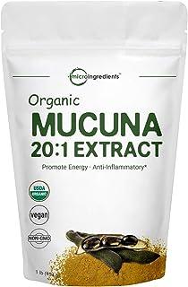Maximum Strength Organic Mucuna Pruriens Extract 20:1 Powder (Contains Natural L Dopa),1 Pound, Pure Mucuna Supplement, Pr...