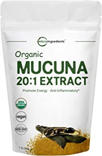 Maximum Strength Organic Mucuna Pruriens Extract 20:1 Powder,1 Pound, Promote Mood and Brain Health, No GMOs and Vegan Friendly