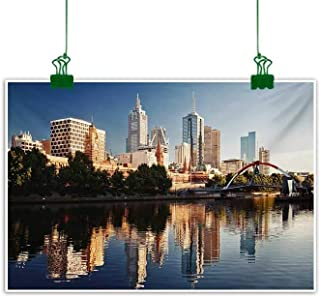 City,Wall Decoration Idyllic View of Yarra River Melbourne Australia Architecture Tourism Photo Canvas PaintingDark Blue Ivory Dark Green W 47