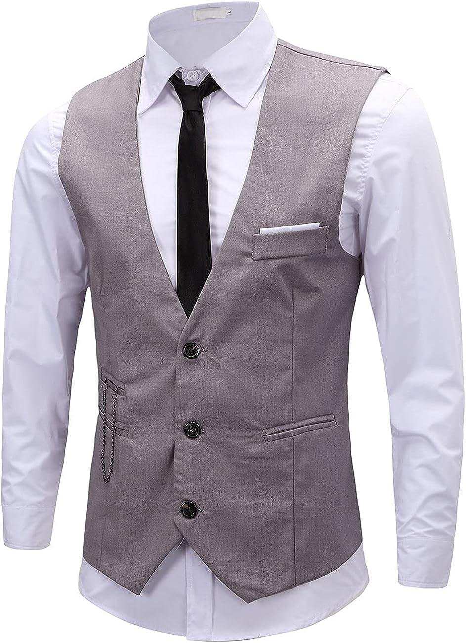 ERZTIAY Men's Formal Dress Business Slim Fit Sleeveless Jacket Vest Waistcoat
