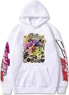 WAWNI Jojo's Bizarre Adventure Unisex Felpe con cappuccio giapponese Anime JoJo Stampato Felpa Streetwear per Uomo e Donna