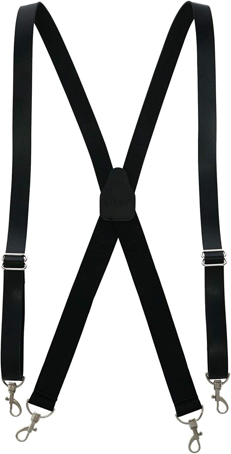 1 Pcs Men's Smooth Coated Leather Suspenders with Metal Swivel Hook Ends (Color Black)