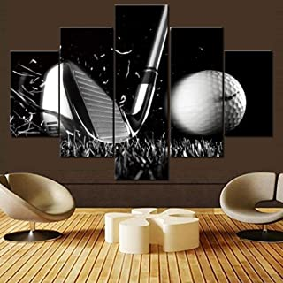Black and White Pictures Golfing Sport Paintings 5 Panel Canvas Golfball Wall Art for Living Room Premium Quality Artwork Contemporary Home Decor Framed Ready to Hang Posters and Prints(60''Wx40''H)