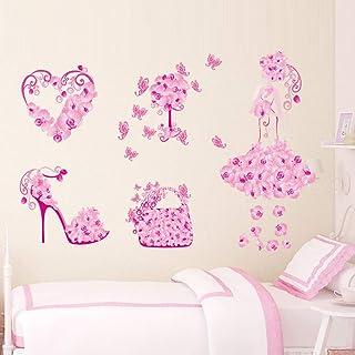 TAOZIAA Pink Flower High Heels Bedroom Living Room Background Wall Stickers Wholesale Waterproof Home Stickers