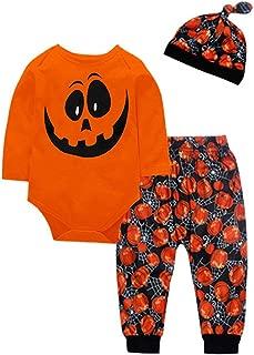 DRAGONHOO simple joys by carter's boys Toddler Baby Boys Girls Pumpkin Romper Pants Cap Halloween 3PCS Outfits Set bodysuits baby boy