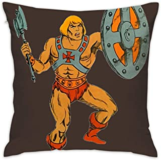 Kjhuihi Vintage He-Man Cushion Cover Durable Cotton Linen Pillowcase for Sofa,Bedroom,Gifts,Home Decor 45x45cm