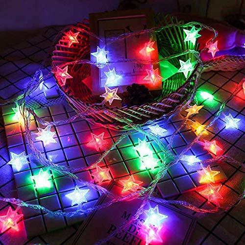 WEDFGX 20/10/30/40 Leds LED en Forma de Estrella Luces de Cadena de Hadas Funciona con Pilas Fiesta navideña Decoración de Bodas Luces de Hadas