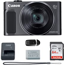 Canon PowerShot SX620 Digital Camera w/25x Optical Zoom - Wi-Fi & NFC Enabled (Black) - Memory Card Bundle (Camera + 64GB Memory Card) Buzz Photo Basic Bundle