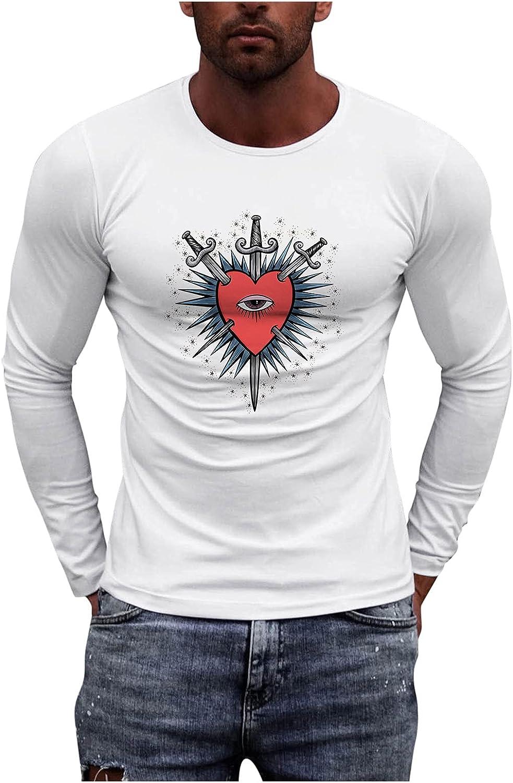 Mens Slim Fit T Shirts Printed Shirts for Men Night Shirts for Men Long Sleeve Compression Shirt Mens Round Neck T Shirt