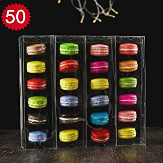 50pcs Luxury Clear Bakery Cake Macaron Gift Box for Wedding Party Baby Shower Favors Macaron Box For 6
