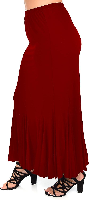Dare2BStylish Women Boho Godet Splash Bottom A Line Maxi Skirt   Reg & Plus Sizes