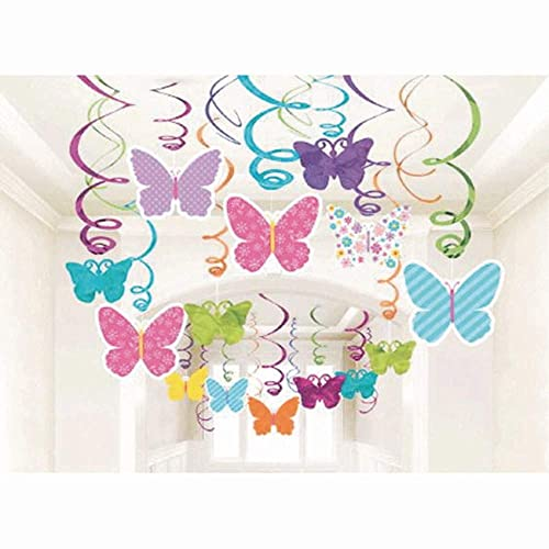 Amscan 670405 Spring Butterfly Party Hanging Swirl Decorations 30pkg Pack Of 30