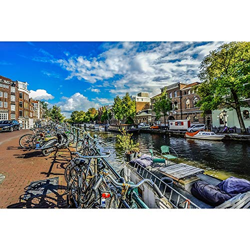 Puzzles Rompecabezas De Madera - Bicicletas A Lo Largo del Canal De Amsterdam, De Los Niños Creativos De Adulto Juego Educativo Rompecabezas 500/1000/1500/2000 Piezas 1202