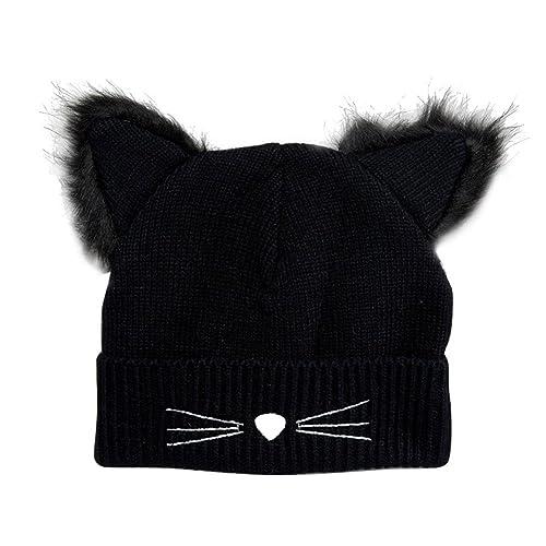 83a9ceffcd7 YOUBETTER Warm Winter Hat For Women Knitted Cat Ears Pompom Caps Female Hats  Bonnet