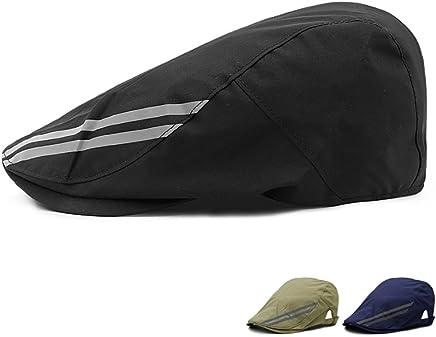 1fb52db1 LAROK WAZZIT Two Stripes Newsboy Flat Cap Leisure Duckbill Hat Adjustable  Outdoor Waterproof Visor Caps