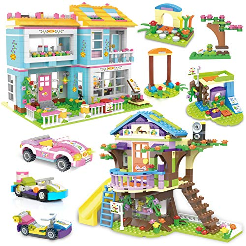 1556 Pieces Tree House Kith Happy Family Party Creative Building Toy Set for Kids - Portable Storage Box with Base Plates Lid - Best Learning and Roleplay Gifts for Boys Girls Ages 6-12