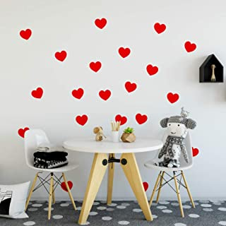 FOAL Hearts Wall Pattern Decal Vinyl Stickers (Red 4
