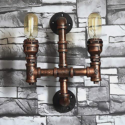 L-YINGZON Hierro del metal del moho del tubo de agua ligera de la pared Wall Loft Industrial Linterna de vapor de luces del aplique de la lámpara retro punky de la vendimia E27 2-luces lámpara de pare