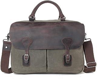 Men's Accessories Office Vintage Style Backpack Handbag Casual Business Briefcase Crossbody Satchel Bag,Black/Fuchsia/Green/Khaki Outdoor Recreation (Color : Green)