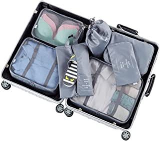7 Set Packing Cubes with Shoe Bag - Compression Travel Luggage Organizer (Gray)