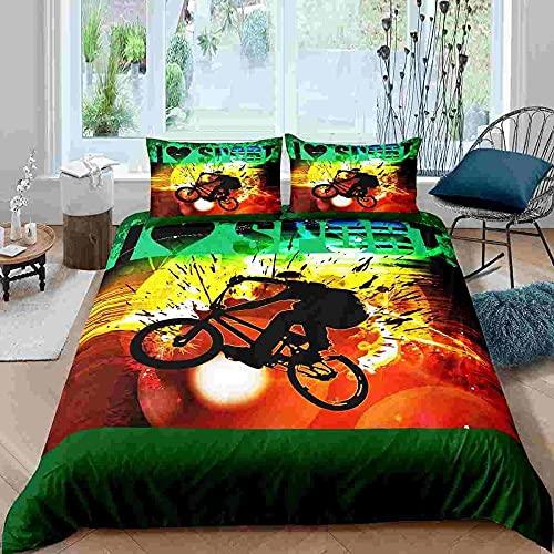 Funda Nordica Cama 90 140x200 Ciclista de Vista Posterior de Color Moderno Suave Polyester Colchas Cama con 2 Fundas de Almohada 80x80 y Cremallera Resistente Correa Fija Juveniles Infantil Niña