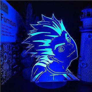 BTEVX Lámpara LED de anime 3D para niños Ilusión Haikyuude anime Kotaru Bokuto Action Figma Regalo de Navidad para niños Modelo de coleccionista Brinquedos Lámpara de noche para niños