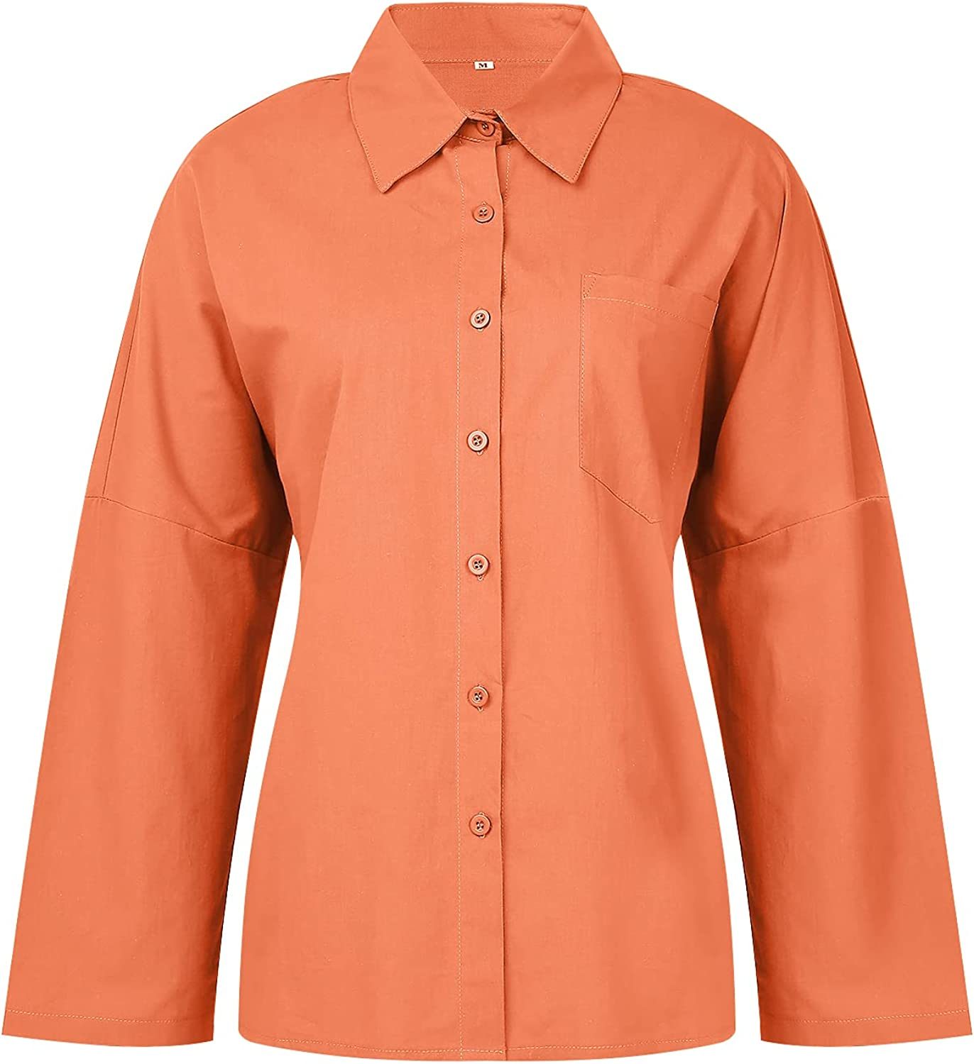 Women's Casual Button Down Shirts Lapel Collar Solid Color Long Sleeve Cotton Linen Shirts Loose Fit Blouses Tops