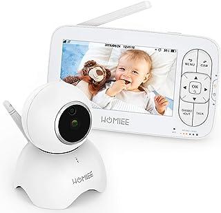 HOMIEE Baby Monitor con Cámara Video Baby Monitor 720P Inalámbrico Pantalla Digital LCD HD de 5 Pulgadas Temporizador de Alimentación Audio Bidireccional Alerta de Sonido y Temperatura