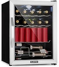 Klarstein Beersafe - Minibar, Mini-Kühlschrank, Getränkekühlschrank, leise, 42 dB, Edelstahl, Glastür, 5-stufiger Temperaturregler, 4 Einschübe, 60 Liter, Silber-schwarz