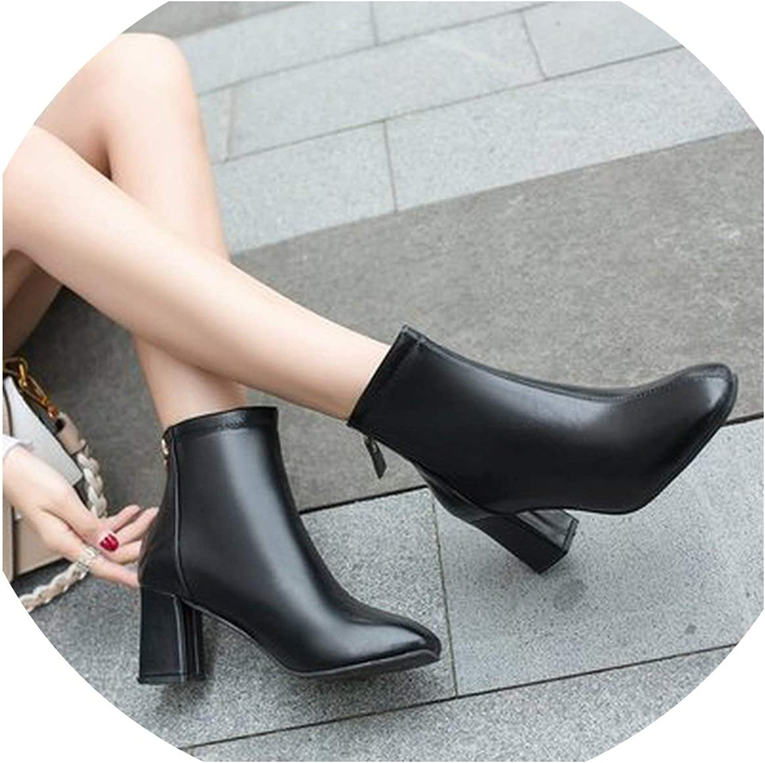 Winter Boots Women Ankle Boots Pointed Toe Ladies Boots Leather Boots