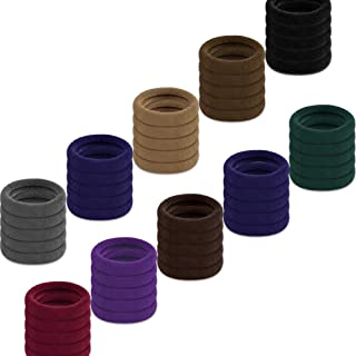 Cotton Hair Ties, IKOCO 50 Pcs Seamless Hair Bands Thick Hair Elastics Seamless Cotton Hair Ties for Women Girls