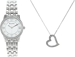 Stainless Steel Crystal Gift Set with Necklace - 96X155