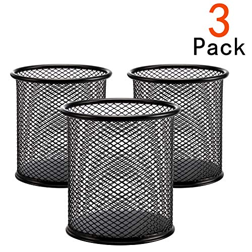 [3 Pack] Pen Holder - Pencil Holder for Desk - Metal Mesh Office Desk Pen Organizer Holders - Medium Sized Black Pen Cup Pencil Cup