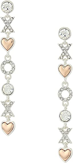 GUESS - XO Heart Linear Earrings