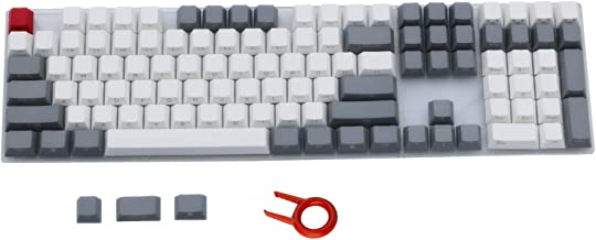 PBT Keycaps Side/Front Print Cherry MX Key Caps Non-Backlit Gray White Key Set with Keycaps Puller for 87/104/108 MX Switches ANSI Mechanical Gaming Keyboard