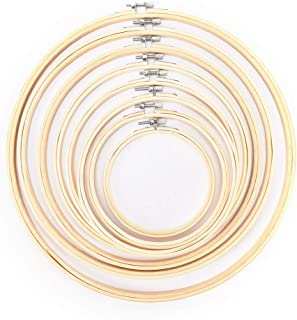 JiaUfmi 8 Pieces Embroidery Hoops Bamboo Frame Circle Cross Stitch Hoop Rings for DIY Art Craft Handy Sewing Tools, 8 Sizes