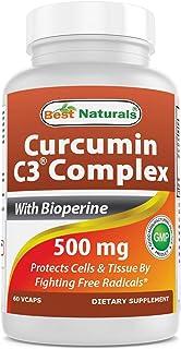 Best Naturals Turmeric Curcumin C3® Complex with Bioperine Veg Capsules, 500 mg, 120 Count
