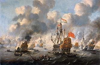 $50-$2000 Hand Painted by College Teachers - 26 Naval Ships Warfare Paintings - Dutch Burn Down English Fleet Chatham WSP1 Peter Van de Velde Naval Battles - Art Oil Painting on Canvas -Size03