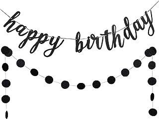 LeeSky Black Glittery Happy Birthday Banner and Black Glittery Circle Dots Garland,Birthday Party Decorations