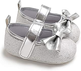 Docooler Newborn Baby Girls Shoes PU Leather Soft Sole Non-Slip Prewalker Bowkont Princess Shoes Mary Jane Shoes Silver 12cm